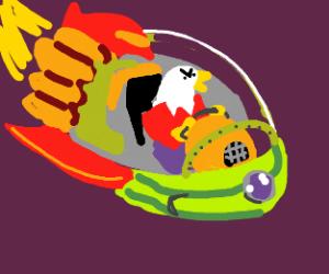 eagle on funky spaceship