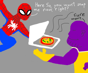 Spidey delivers pizza to Thanos