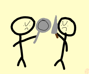 Guy with knife vs guy with pan