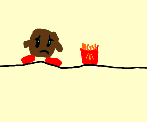 brown kirby sad that french fries exist