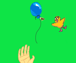 Balloon set free as a present for flying duck