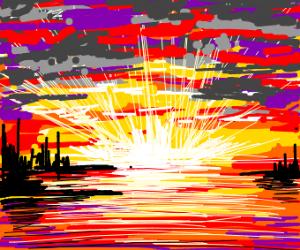 A beautiful summer evening sunset