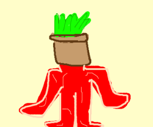 Inside out man with garden on head