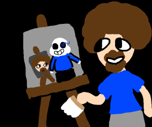 Bob Ross paints Sans painting Bob Ross