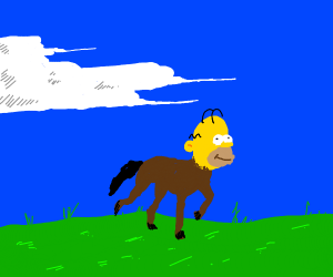 Horse with Homer Simpsons head