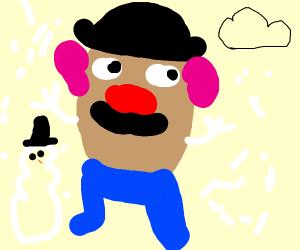 Mr. Potato man in stuck in a snowstorm