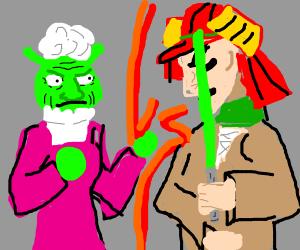 Grandma Shrek vs Samurai Jedi