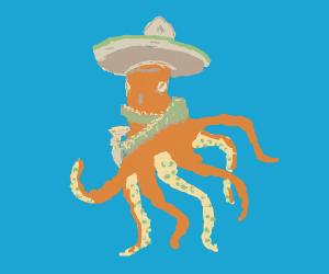 Octo wearing a sombrero