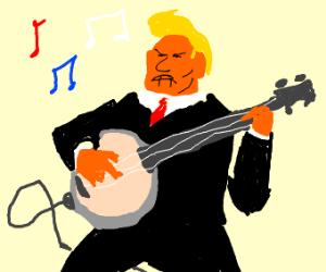 donald trump playing an amped banjo