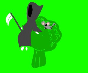 grim reaper and mouse sitting on the broccoli