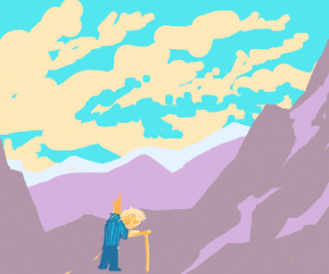 Old man with cane wants to climb mountain