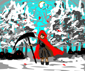 Little red riding hood in creepy snow forest