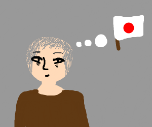 Japanese Guy thinking about his Flag