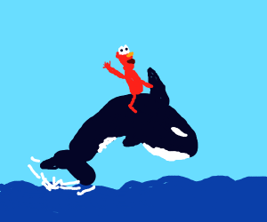 elmo riding an orca