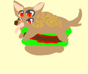 dog burger with 4 eyes