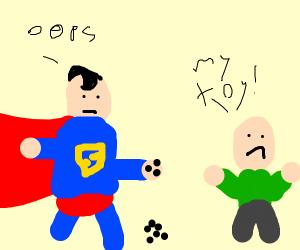 Superman accidentally destroys kid's toy