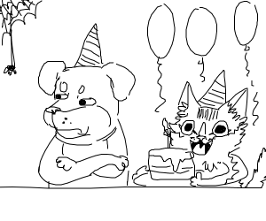 Dog doesn't want bday cake cat offers him