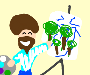 bob ross (the real og) painting some trees