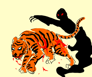 Shadow man forces his tiger to fight