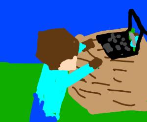 Steve Playing Minecraft in Minecraft