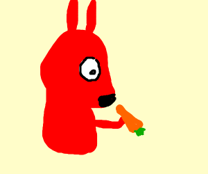 Red Bunny eating Carrot