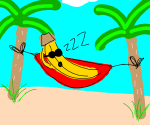 banana resting on a hammock