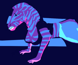 Female purple zebra does yoga