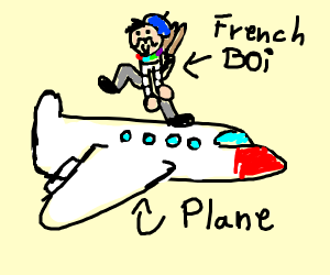 French man in a plane with coloured neckpiece