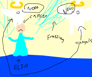 Elsa with cancer freezes angels