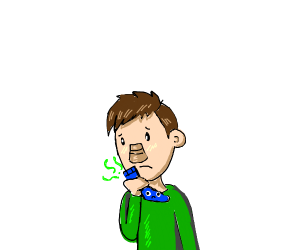 person in green sniffing socks with eyes