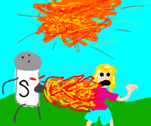 salt spitting fire on girl while sun explodes