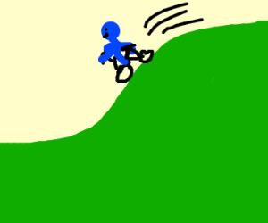 Blue man riding a bike down a hill