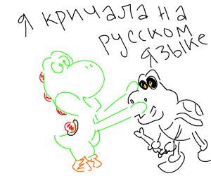 yoshi yels in russian & claps drybones cheeks