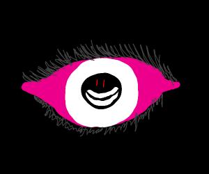 Giant Pink eye, white smile monster in pupil