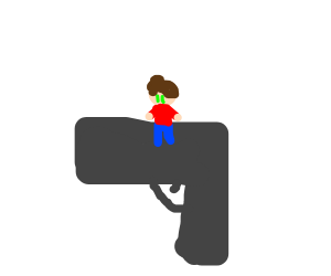 person on a very large gun