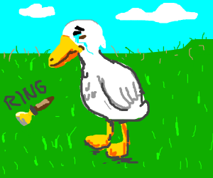 duck cries at ringing of the bell