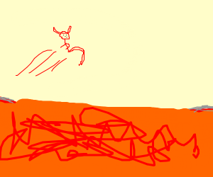 Satan jumping over Lava