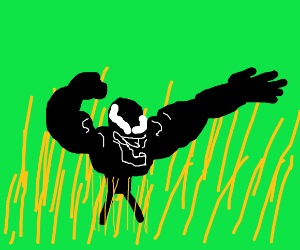 a monster dancing in a wheat field