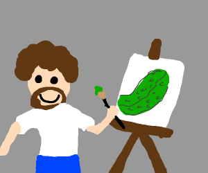 bob ross drawing a pickle