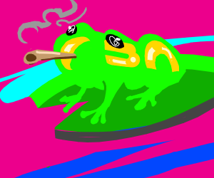 smoking frog on lilypad is baked