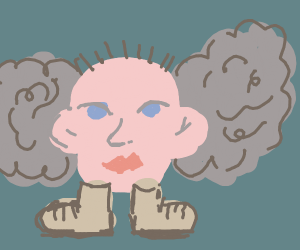 Head wearing boots and has cloud wings