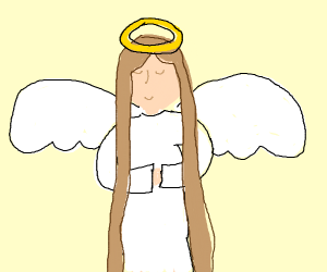 Angel with really long hair