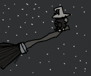Crow on a broom is high up to the stars