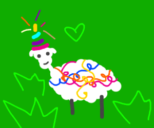Sheep is feeling cute all decorated