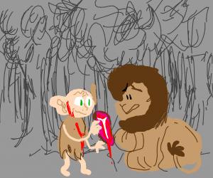 gollum feeding a confused lion