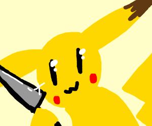 Pikachu has a knife