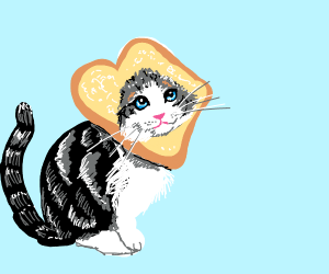Cute cat with head in bread slice.