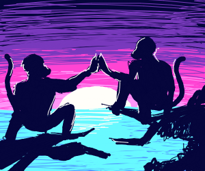 ape high-five at sunset