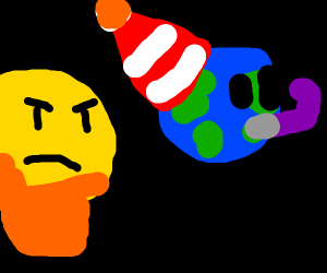 Emoji man confused by party Earth