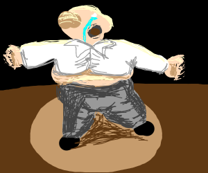 Obese guy crying under a spotlight